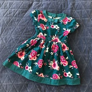 Gymboree Girls Teal Corduroy Floral Dress